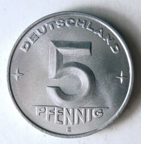 1952 E EAST GERMANY 5 PFENNIG - UNC/BU - Cold War Vintage Coin - DDR BIN
