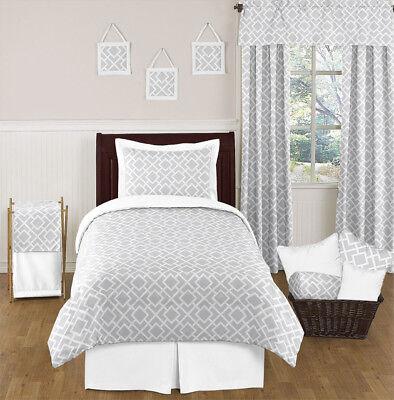 Discount Girls Bedding - Sweet Jojo Designs Discount Gray White Girl Boy Grey Kids Twin Teen Bedding Set