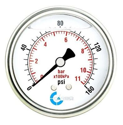 2-12 Pressure Gauge Stainless Steel Case Liquid Filled Back Mnt 0-160 Psi
