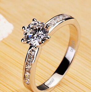 1.5Ct Round Excellent Cut Diamond Solitaire Engagement Ring, Platinum Hallmarked