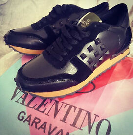 Valentino Black Leather Rockstud Sneakers, Brand New