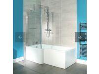 1500 x 850 Left Hand L-Shaped Shower Fixed Screen