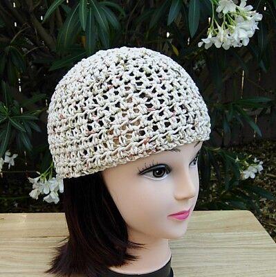 Light Brown Beige Cotton Crochet Knit Hat Summer Women's Beanie, Chemo, Skullcap