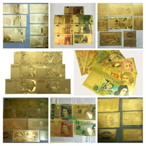 Set banconote oro gold euro lire dollaro sterlina