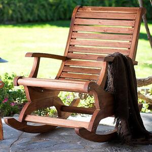 Teak Oiled Plantation Adirondack Outdoor Patio Deck Rocking Rocker Chair - New!