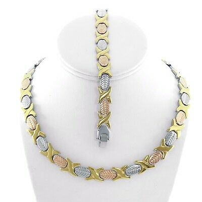 "Womens 3 Tone Hugs & Kisses Necklace,Bracelet Set Stainless Steel 18"" New XOXO"