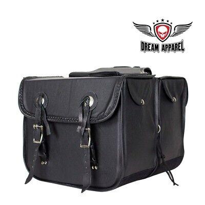 (Genuine Leather Motorcycle Saddlebag W/ Braid & Concho SD4007-NEW-LEATHER)