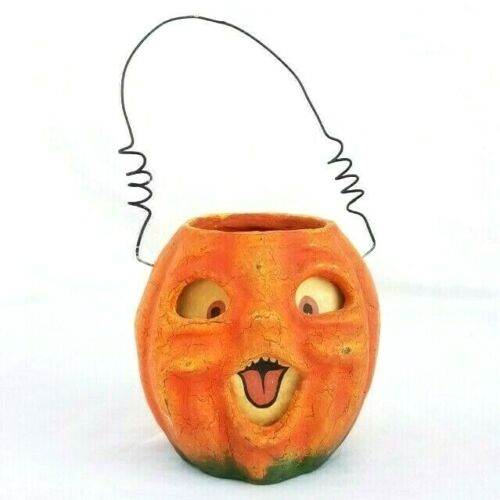 VTG Style Halloween 4.5 LAUGHING JACK O LANTERN Pumpkin Wire Handle Paper Mache