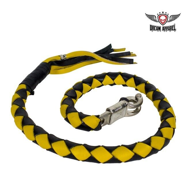 "3"" Fatty Black & Yellow Get Back Whip for Motorcycles - free shipping"