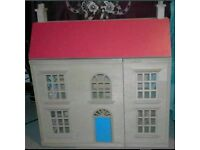 Ideal gift -3-storey wooden Dolls House with 38 pieces, with dolls. VGC. Buyer collects.