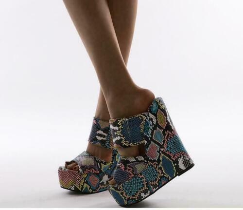 как выглядит Women Open Toe Snakeskin Mixed Colors Platform Slipper Slingbacks Wedge HAP фото