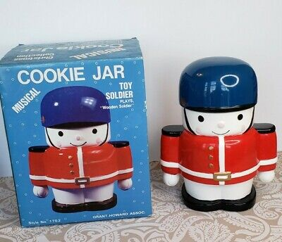 Vintage 1989 Musical Toy Soldier Ceramic Cookie Jar Grant Howard Christmas Boxed