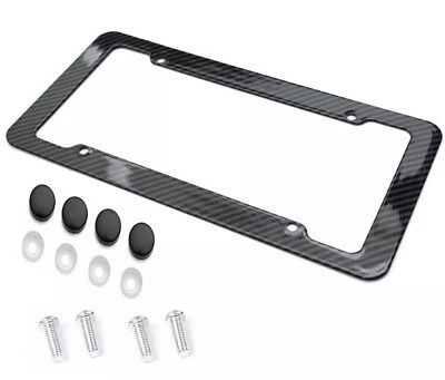 Carbon Fiber Plastic License Plate Frame -Quality Black Standard Fit