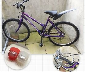 Purple Bicycle+ Bicycle Lights + bike lock = only 35£