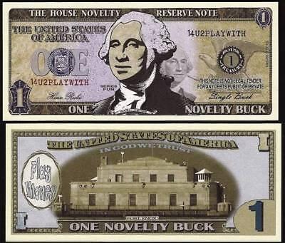 Lot of 100 Bills- One Novelty Buck, Play Money Dollar House Novelty Reserve Note - Play Money 100 Dollar Bills