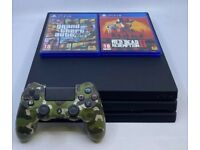 PS4 PRO 1TB Playstation CONSOLE with Red Dead and GTA 5