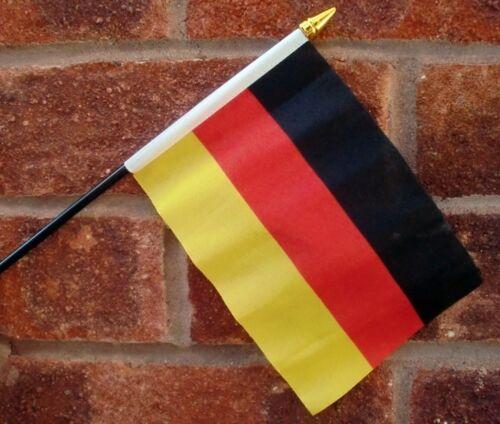 "GERMANY HAND WAVING FLAG Small 6"" x 4"" with black pole GERMAN Berlin munich Bonn"