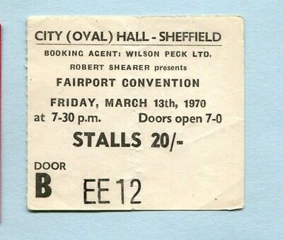1970 Fairport Convention concert ticket stub City Hall Sheffield UK