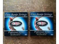 5 string Banjo two full string sets - New