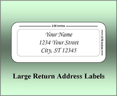 60 Large Return Address Labels. 2.25 x 0.75 Inches. Ships Free.