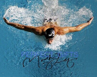 MICHAEL FRED PHELPS SIGNED 10X8 PP REPRO PHOTO PRINT swimming olympics