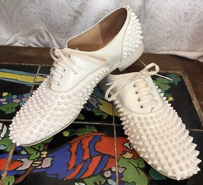 Louboutin Shoe Freddy White Lace Up Spikes Patent Leather Size 40