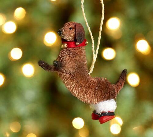 Holiday Dachshund Dog Brush Christmas Ornament by Pottery Barn