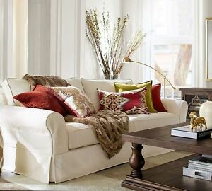 Pottery Barn Sofa and Pillows, French Country Cabinet, Area Rug