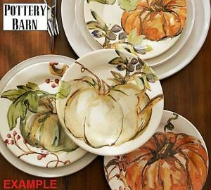 "4 NEW POTTERY BARN PLATES 8"" MIXED SET OF 4 SALAD PLATES - WATERCOLOUR PAINTED PUMPKIN 105905234"