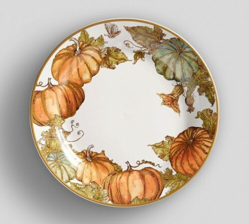 Pottery Barn Fall Heritage Pumpkin Salad Plate, Set of 4 NEW