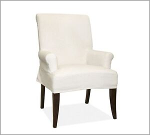 barn comfort dining arm chair slipcover shor t brushed canvas cream