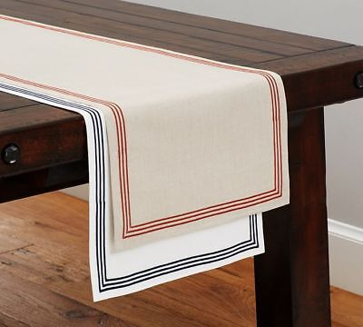 NWT Pottery Barn Embroidered Stripe Table Runner White Navy Blue