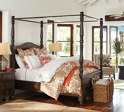 - Cortona Queen Solid Wood Canopy Bed Color Alfresco Brown New By Pottery Barn