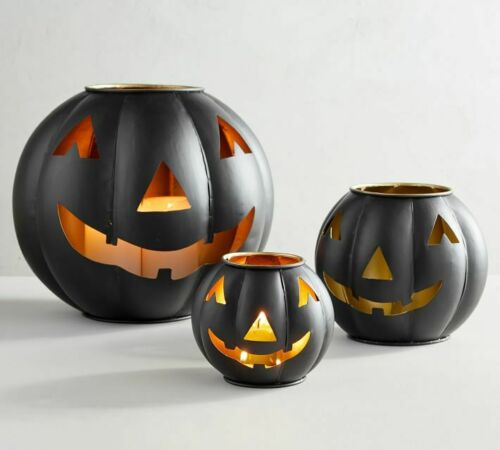 Set of 3 Pottery Barn Metal Jack-O-Lanterns, Black, Halloween Fall New Pumpkin