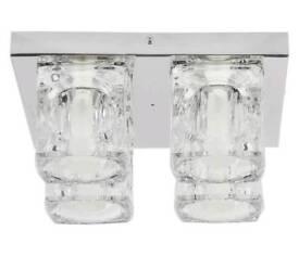 Modern polished chrome ice cube light