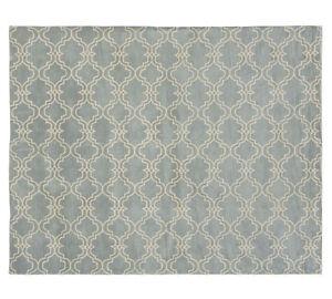 Pottery Barn Scroll Tile Area Rug 8x10 New Porcelain Blue