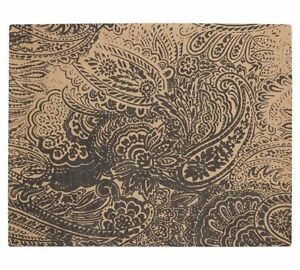 Pottery Barn Black Paisley Printed Natural Fiber 5x8' Rug