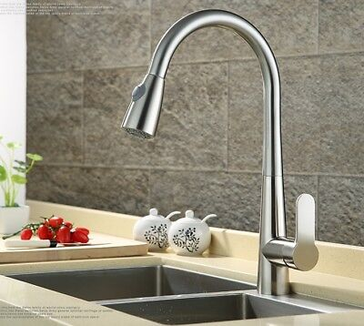 Pull Out Sprayer Kitchen Faucet Brushed Nickel Single Hole Flat Handle (Brushed Nickel Faucet)