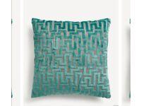Next Teal Velvet Cushions x 3