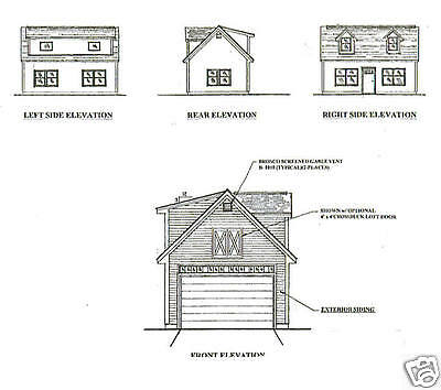 16x24 1 Car Garage / Garden Potting Shed Building Blueprint Plans w/ Open Attic