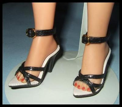 BLACK High Heel Triple Strap Sandals SHOES for Miss Revlon CISSY Dollikins