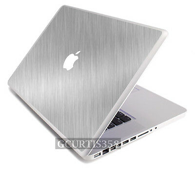 BRUSHED ALUMINUM Vinyl Lid Skin Cover Decal fits Apple G4 Powerbook 15