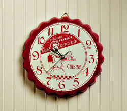 New Retro Diner Farmhouse Vintage Style RED MOMS KITCHEN CLOCK Wall Hanging