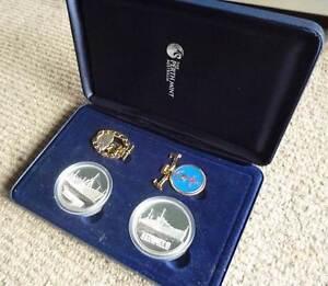 2008 HMAS SydneyII-Kormoran $1Silver ProofCoin+Medallion+BadgeSet Wembley Cambridge Area Preview