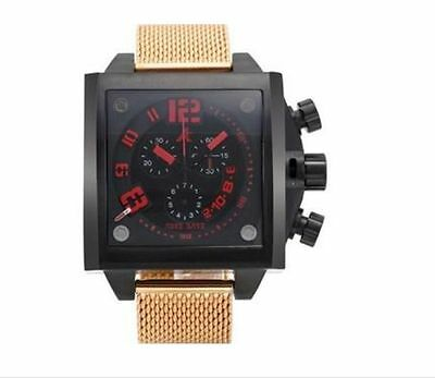 Adee Kaye Men's Black and Gold Stainless Steel Chronograph Watch ()