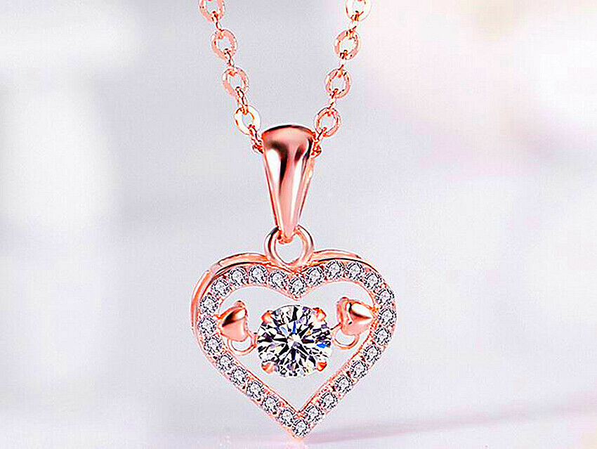 Jewellery - Rose Gold Heart Pendant 925 Sterling Silver Necklace Chain Jewellery Women Gift