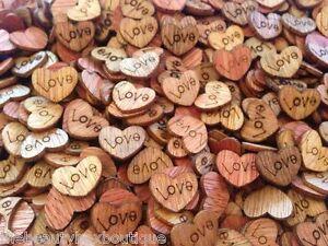 50 X Wooden Love Hearts - Craft Scrapbook Card Embellishments Wedding Charms