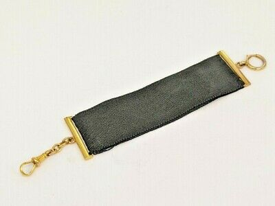 Regency Style 9ct gold  black ribbon & gold chain watch fob