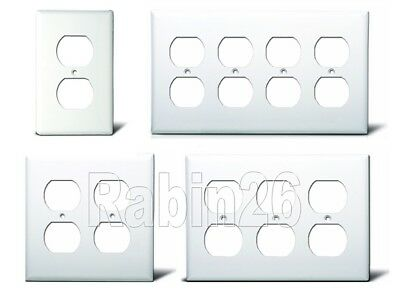 DUPLEX OUTLET PLUG RECEPTACLE PLASTIC WALL COVER PLATE 1 2 3 4 GANG WHITE