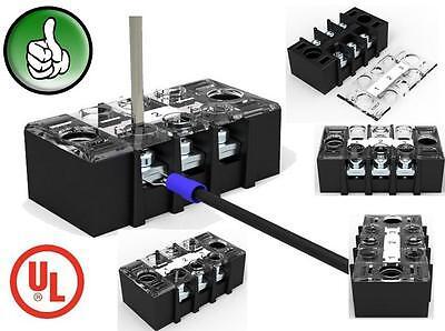 Lot 5 3 Position 25a 600v Barrier Dual Row Terminal Blockstrip Wcover Rohs